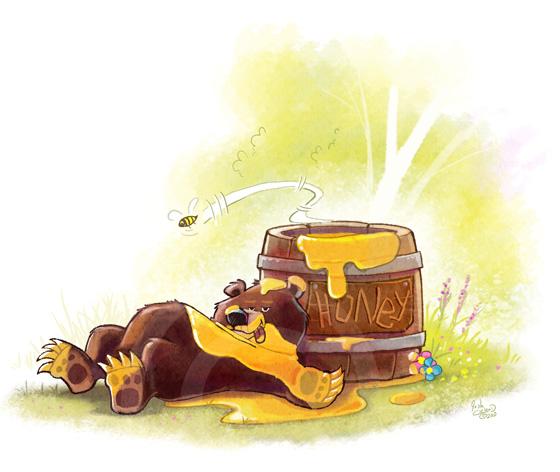 Honey Bear Card Illustration Honey Bear Illustration