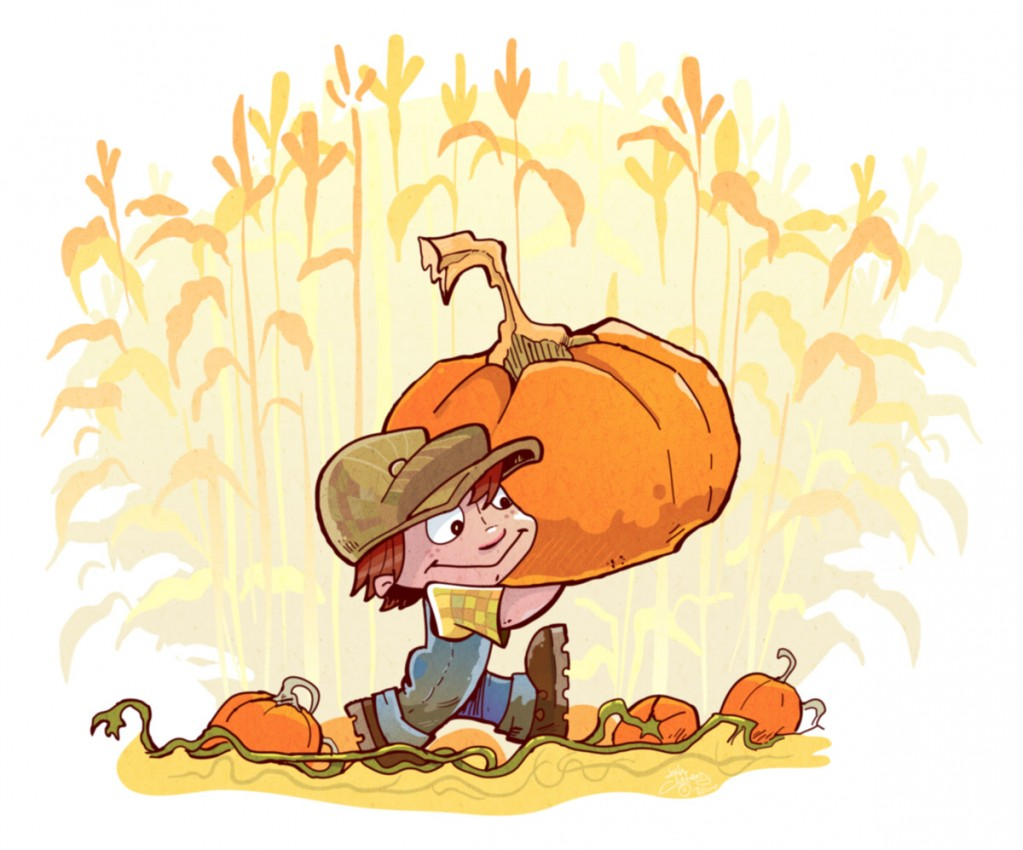 Boy carrying big pupkin