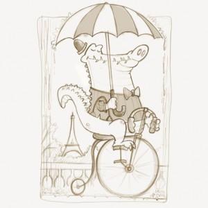 Pencil cartoon sketch of alligator riding a bicycle in Paris