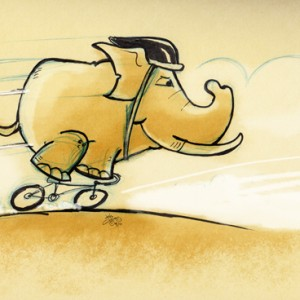Sketch illustration of an elephant on a racing bicycle wearing a helmet