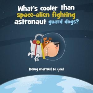 Space alien fighting astronaut guard dog