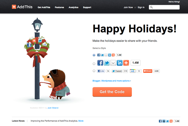 2011 Christmas Illustration featured on AddThis