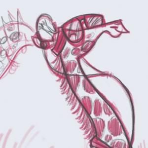 Roller Skating Giraffe sketch