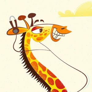 Rollerskating Giraffe Illustration