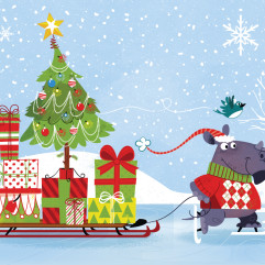 Christmas Rhinoceros Illustration