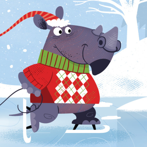 Christmas Skating Rhino Vector illustration