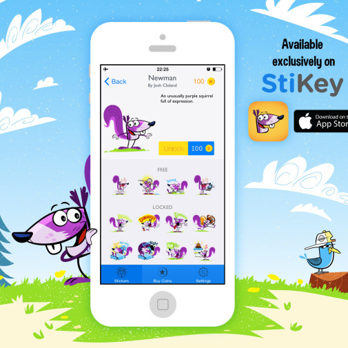 Sticky Newman the Squirrel iOS chat stickers