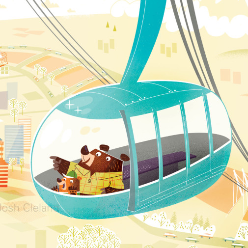 Portland Aerial Tram illustration detail 3