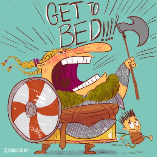 Land of Cle week 4 viking shield maiden illustration by Josh Cleland
