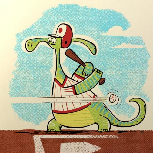Land of Cle Dinosaur Baseball illustration by Josh Cleland