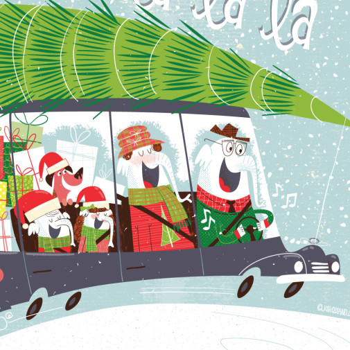 Elephant family in car Christmas card