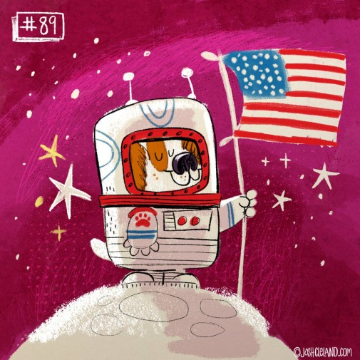 Land of Cle astronaut dog illustration by Josh Cleland