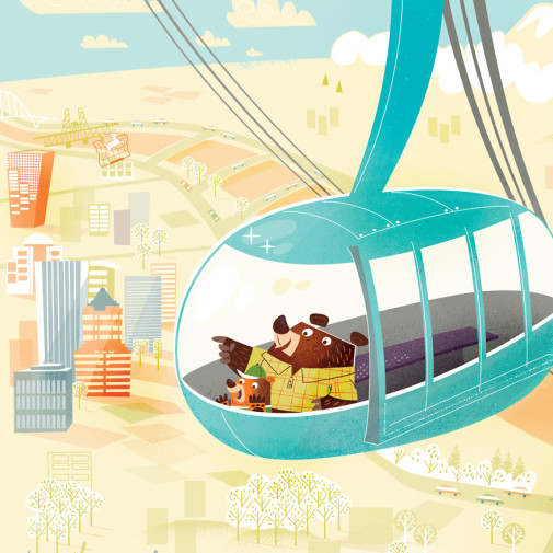 Portland Aerial Tram illustration by Josh Cleland
